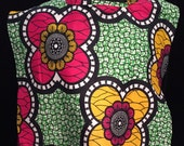 Cropped Kaftan Top  Giant Flowers African Wax Print  Small