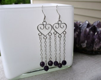 Amethyst Earrings, Silver Earrings, Purple Earrings, Gemstone Earrings, Long Earrings, Dangle Earrings, Chandelier Earrings