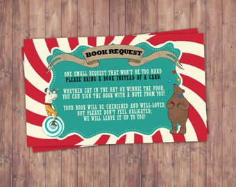 CIRCUS Baby Shower, Book Request, Invitation  Carnival Baby Shower  Invitation Coed Baby