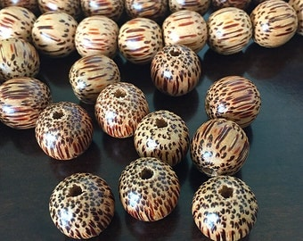 Large Wooden Beads, Natural Palmwood Beads, Round Wooden Beads, Large Hole Wood Beads, Light Brown Palmwood Beads, 15mm - 20 beads (W15-01)