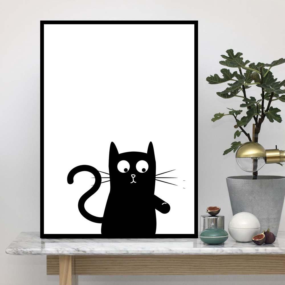 Black cat silhouette wall art print cat wall decor for Silhouette wall art