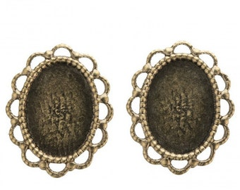 Oxidized brass scalloped edge oval solid back setting for 18x13mm cabochon. Pkg. of 2 b9-2424(e)