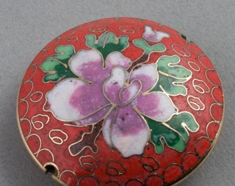 Cloisonne on brass disk bead. 47x14mm. b2-452(e)
