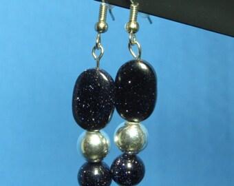 Black and Blue Goldstone Earrings