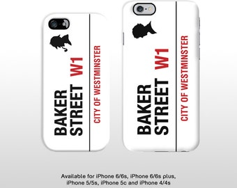 iPhone Baker Street London street sign phone case. Sherlock Holmes 221b print hard case for iPhone 6 iPhone 5 iPhone 4 T337