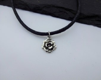 Floral Choker Necklace, Flower Choker, Charm Necklace, Black Cord Necklace, Flower Necklace, Charm Choker, Flower Gift, Floral Necklace