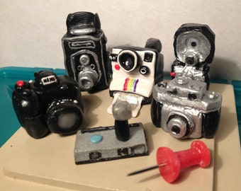 Polymer Clay Dollhouse Miniature Photographic Cameras (Not Intended For Children Use)