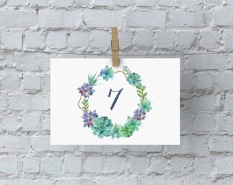 Table Numbers Printable, Wedding Sign, Succulent Art, 4x6 Print, Wedding Art, DIY Wedding Decor, Table Decoration Printable, Table 7