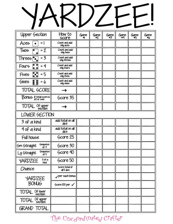 Printable Yardzee Score Card File With Uncoordinated Crafter