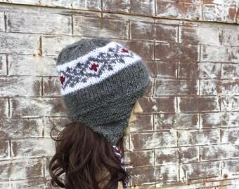 Mohair Hat, KNIT TRAPPER HAT, Mohair Wool Bomber Hat, Hand Knit Winter Hat,  Ear Flap Hat