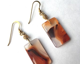 Red Rectangle Shape Agate Gold-plated Sterling Silver Earring