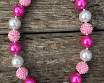 1 Pink White Chunky Necklace, Pink Chunky Necklace, Pink Bubblegum Necklace, Princess Chunky Necklace