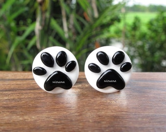 "Black & White Puppy Dog Paw's Glass Plugs - Custom Color Combinations Gauges 00g 7/16"" 1/2"" 9/16"" 5/8"" 9.5 mm 10 mm 11.1 mm 12.7 mm - 16 mm"