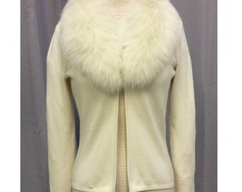Vintage Inspired Cream Cardgian with Rabbit Fur Collar by Dolce Cabo