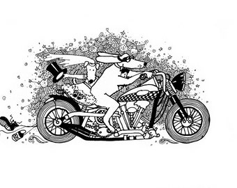 bride and groom on a harley - digital download, doodle, graphic, color in, scrapbooking, artwork, line drawing