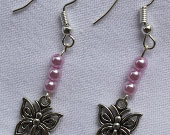 Earrings with butterflies and beads