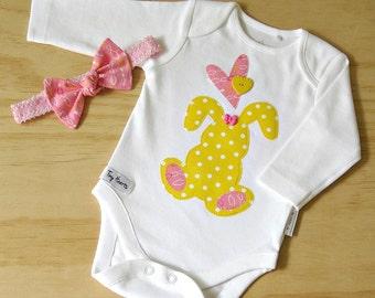 Girls rabbit bodysuit. Girls onesie and headband. Girls rabbit bodysuit set. Bunny onesie and headband. Girls 2 piece set.