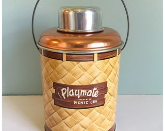 Vintage 1950's Metal Glass Lined Playmate Insulated Picnic Jug, Retro Insulated Picnic Jug, Cooler.