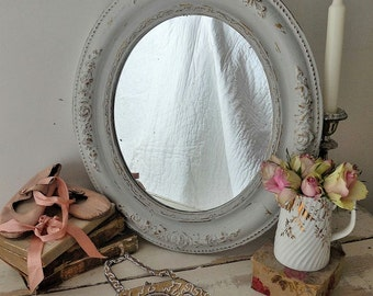Antique French mirror, painted mirror, distressed mirror
