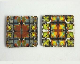 Geometric beads, Abstract art beads 2 Green black gray Tile pattern design, Symmetrical pattern,Square flat beads,Decorative image Art beads