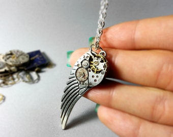 Wing pendant, Mechanical necklace, Rocker chain, Vintage watch parts, Clockwork necklace, Geekery upcycled, Steampunk jewelry