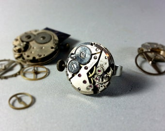 Mechanical ring, steampunk  ring, clockwork ring, watch ring with wings, watch gear ring, upcycled ring, steampunk jewelrym,