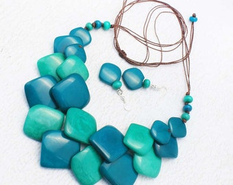 Blue Bead Necklace - Eco Friendly Jewelry made of Tagua Nut - Blue Green Necklace Set - Double Strand Necklace - Cool Gifts for Women 1750