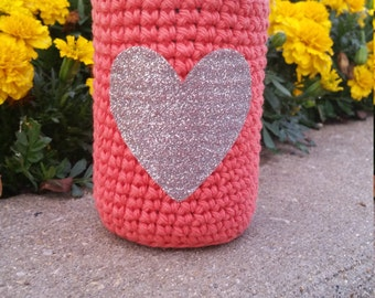 Coral Can Cozy with Silver Glitter Heart