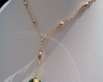 Y chain gold, Murano glass pendant, 585 gold filled