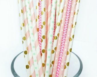 Pastel Baby Shower Decorations, Pink, Mint and Gold Paper Straws, Pink and Mint Bridal Shower, Garden Party Decor, Dessert Table Decorations