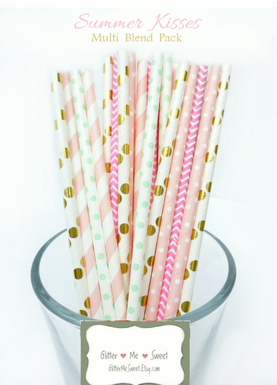 pastel baby shower decorations pink mint and gold paper straws pink