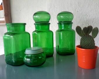 Set, pharmacist spot, pharmacy bottle, stop bottle green, container made in Belgium, 70s decor, pharmacist spot green, Christmas gift, Druppeldop bottle