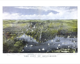 """Baltimore Maryland in 1880 Panoramic Bird's Eye View Map by C. R. Parsons 22x16"""" Reproduction"""