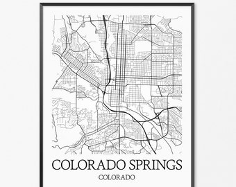 Colorado Springs Map Art Print, Colorado Poster Map of Colorado Decor, Colorado City Map Art, Colorado Gift, Colorado Art Poster