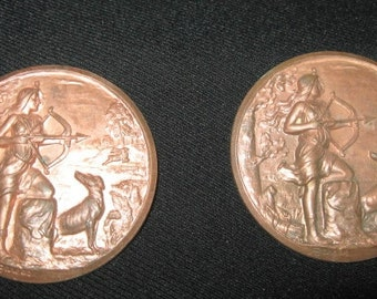 Copper Disk Hunting Woman Archer Amazon, Lesbian Jewellery Arts and Crafts Enamel Jewellery Material