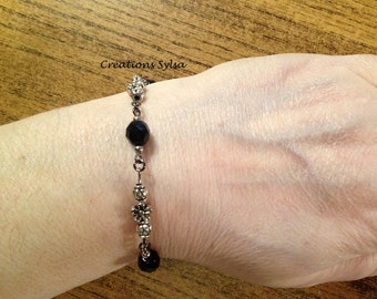 Black and silver bracelets, glass bead bracelet, fantaisy bracelet, mode bracelet, women and girls bracelet, girlfriend gift