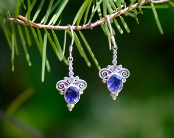 Iolite Earrings, Faceted Iolite, Violet Earrings, Spiral Gemstone Earrings, Granulation Jewelry, Iolite, Iolite Jewelry, Water Sapphire