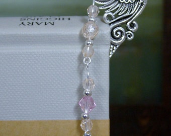 Breast Cancer Awareness Silver Metal Beaded Bookmark with Pink Rhinestone Ribbon and Faceted Pink Beads - Limited Edition