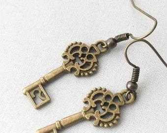 CLEARANCE Stocking Stuffer for Girls Steampunk Key Earrings, Key Jewelry, Steampunk Earrings - Steam Punk Earrings
