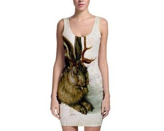 WOLPERTINGER Bodycon Dress mythology taxidermy morbid anatomy medeival rabbit antlers folklore occult mysticism dark witchy apparel