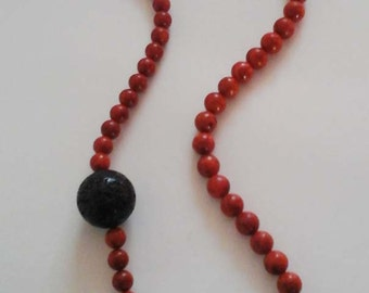 Coral and lava beads necklace