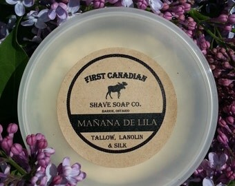 Manana de Lila, Tallow, Lanolin and Silk Shave Soap, First Canadian Shave Soap Co.