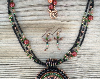 Dragonfly Soutache Beaded Necklace/Earring Set