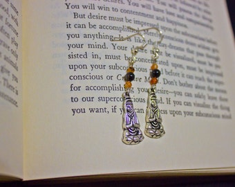 Sterling Silver Buddha Style Dangle Earrings with Crystals or Semi-Precious Stones