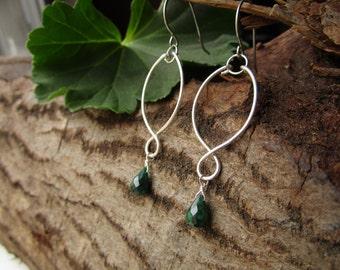 Genuine Emerald Earrings, Sterling Silver Emerald Earrings, Dangle Emerald Earrings