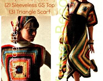 INSTANt DOWNlOAD - PdF Pattern - 3 Boho Crochet Patterns Retro 1970s Chic Granny Square Dress Crochet Pattern Scarf Pattern Top Headscarf