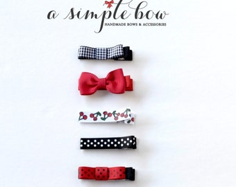 Baby Bow | Baby Hair Clip | Hair Clips for Toddlers | Toddler Bow | Red Bow | Cherry Bow | Cherry Clip | Baby Shower Gift | Baby Girl Bow