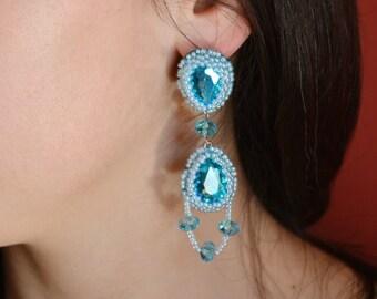 Dangle Drop earrings, blue earrings, Dangle Earrings, Drop earrings, long earrings, crystal earrings