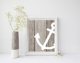 Nursery Wall Art, Nautical Anchor Art, Anchor Decor, Beach Decor, Anchor Print, Nautical Nursery, Nautical Theme, Rustic Nautical Print