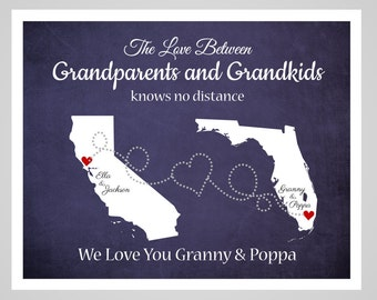 Grandma and Grandpa Map, Long Distance Grandparent Gift, Gift for Grandma and Grandpa, Grandma and Grandpa Gift, Mothers Day Gift